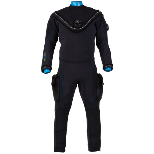 fusion bullet drysuit with blue seals